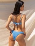 Εικόνα από Γυναικεία μαγιό σετ μπικίνι γκοφρέ με V άνοιγμα Μπλε
