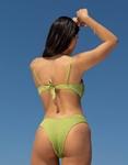 Εικόνα από Γυναικεία μαγιό σετ μπικίνι γκοφρέ με V άνοιγμα Πράσινο