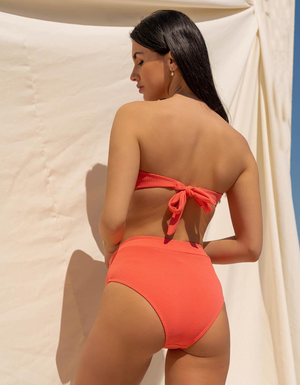 Εικόνα από Γυναικεία μαγιό σετ μπικίνι ριπ strapless Σομόν