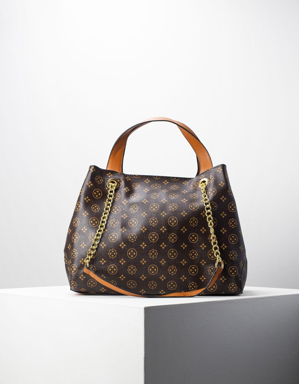 Εικόνα από Γυναικεία τσάντα ώμου με εσωτερικό τσαντάκι Καφέ