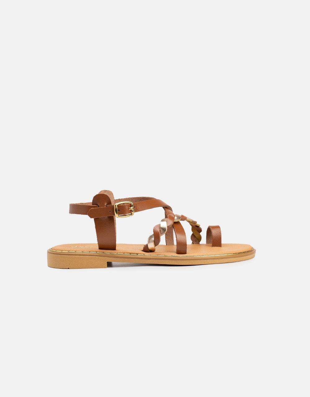 Εικόνα από Γυναικεία σανδάλια από γνήσιο δέρμα με κοτσιδάκι Ταμπά