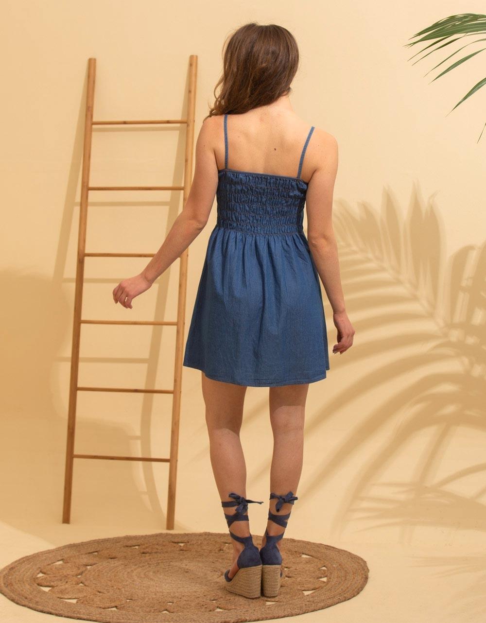 Εικόνα από Γυναικείο φόρεμα ραντάκι σεμιζιέ Τζιν