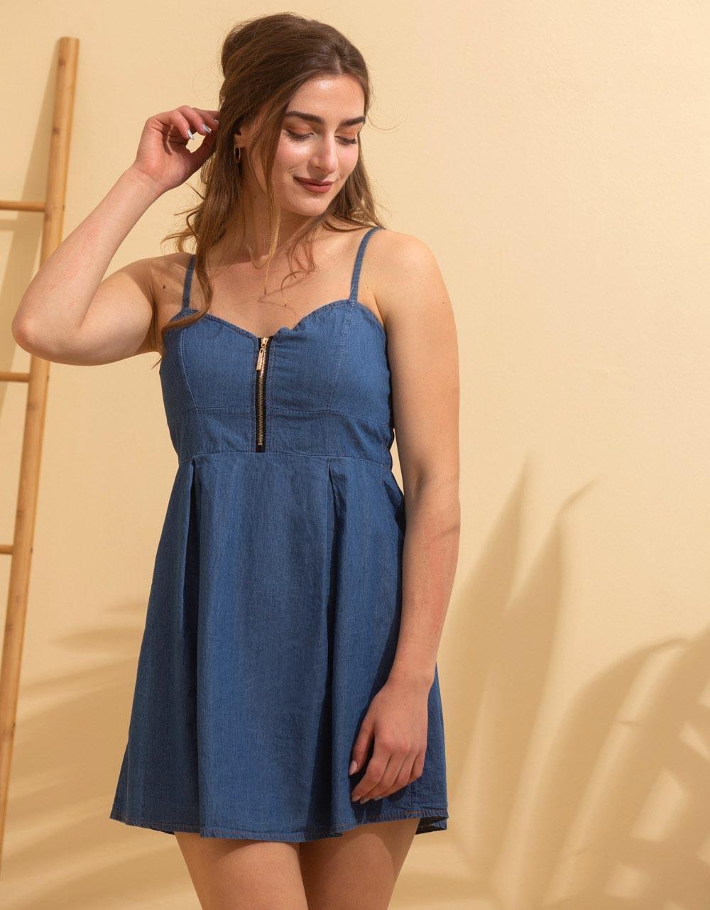 Εικόνα από Γυναικείο φόρεμα ραντάκι μίνι Τζιν