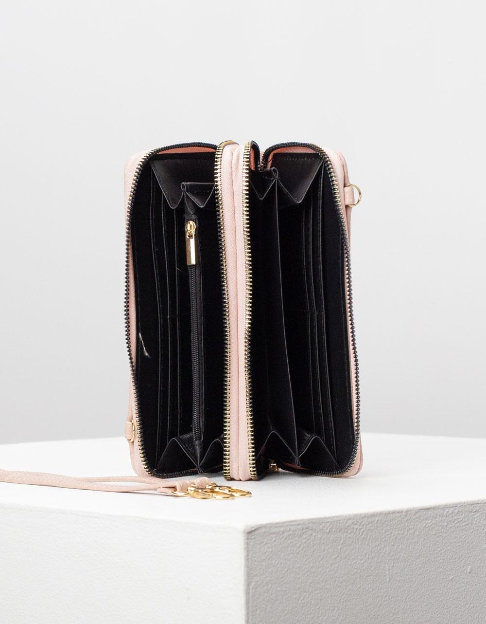 Εικόνα από Γυναικείο πορτοφόλι basic μονόχρωμο Ροζ