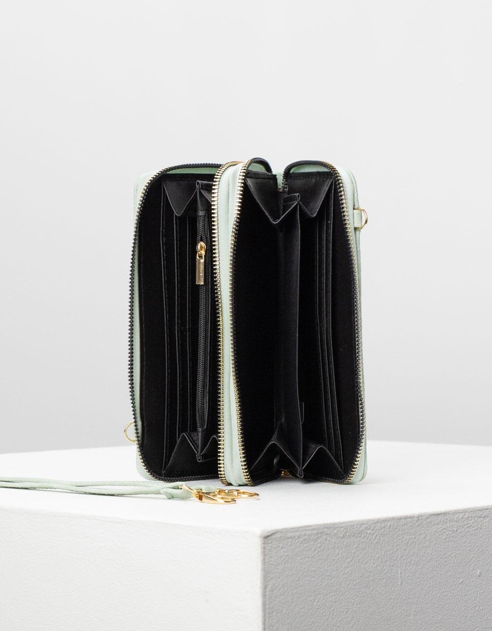Εικόνα από Γυναικείο πορτοφόλι basic μονόχρωμο Τιρκουάζ