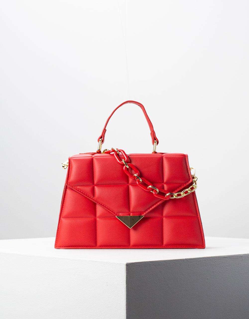 Εικόνα από Γυναικεία τσάντα ώμου & χιαστί με καπιτονέ σχέδιο Κόκκινο