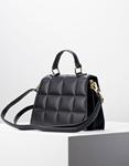Εικόνα από Γυναικεία τσάντα ώμου & χιαστί με καπιτονέ σχέδιο Μαύρο