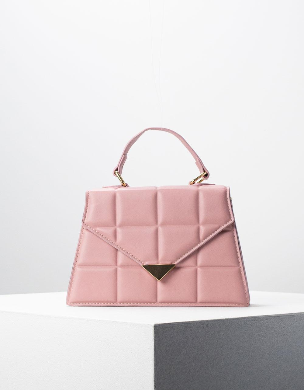 Εικόνα από Γυναικεία τσάντα ώμου & χιαστί με καπιτονέ σχέδιο Ροζ