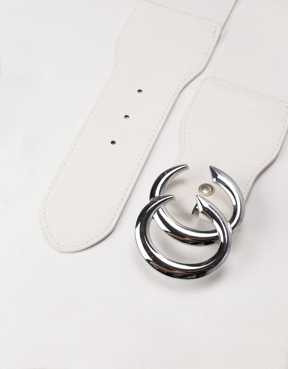 Εικόνα από Γυναικείες ζώνες ελαστικές με διπλή μεταλλική αγκράφα Λευκό
