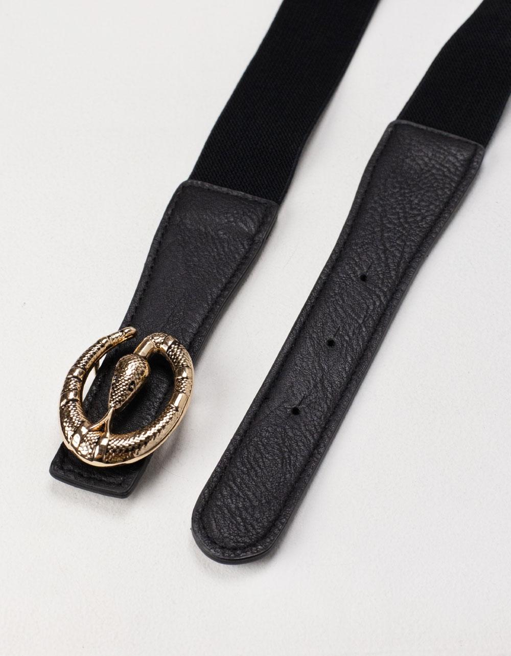 Εικόνα από Γυναικεία ζώνη ελαστική με σχέδιο φίδι Μαύρο
