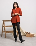 Εικόνα από Γυναικείο πουκάμισο ασύμμετρο με ζώνη Καφέ