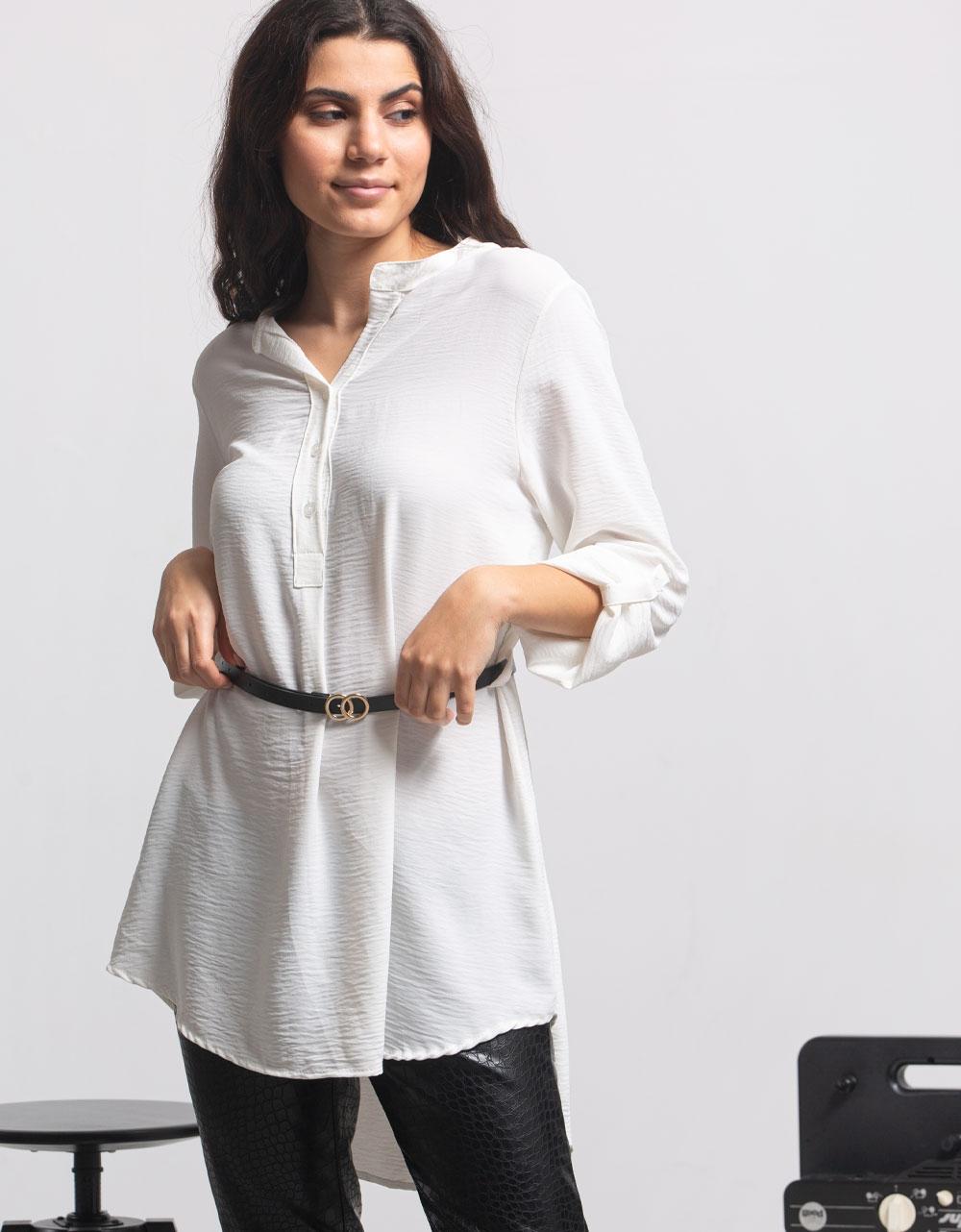Εικόνα από Γυναικείο πουκάμισο ασύμμετρο με ζώνη Λευκό