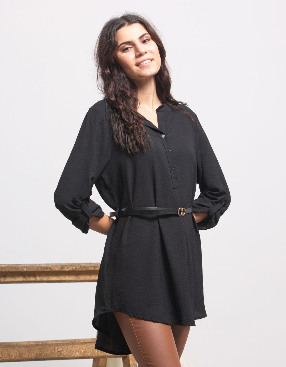 Εικόνα από Γυναικείο πουκάμισο ασύμμετρο με ζώνη Μαύρο