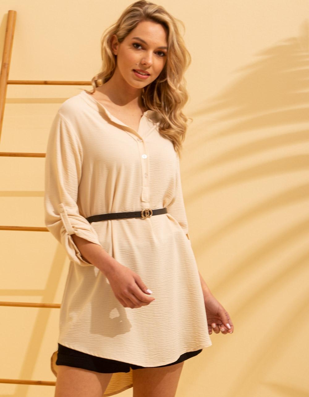 Εικόνα από Γυναικείο πουκάμισο ασύμμετρο με ζώνη Μπεζ