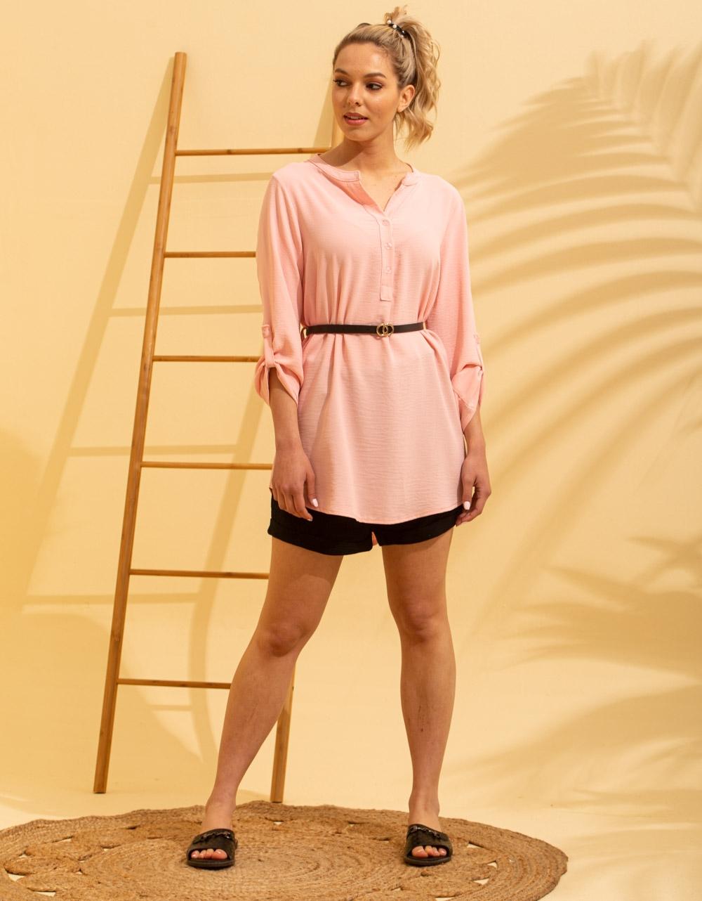 Εικόνα από Γυναικείο πουκάμισο ασύμμετρο με ζώνη Ροζ