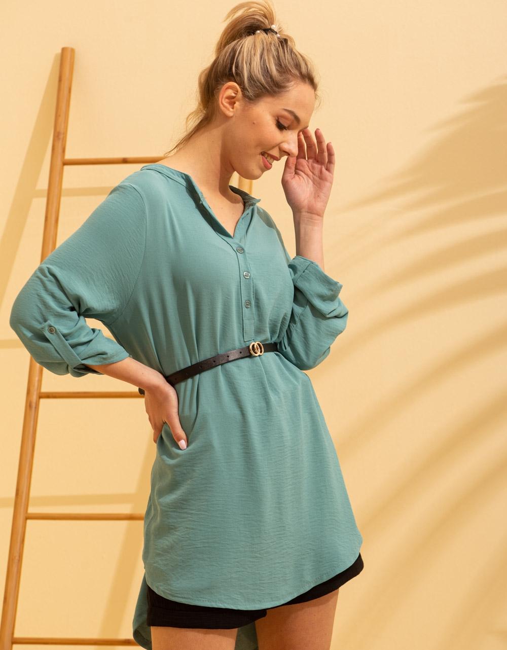 Εικόνα από Γυναικείο πουκάμισο ασύμμετρο με ζώνη Βεραμάν
