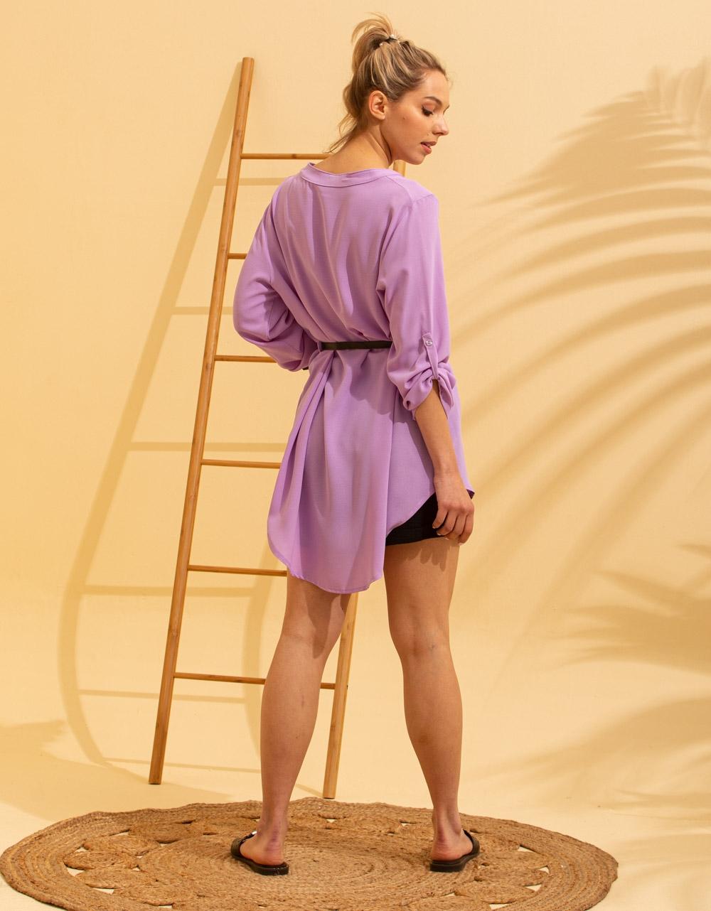 Εικόνα από Γυναικείο πουκάμισο ασύμμετρο με ζώνη Λιλά