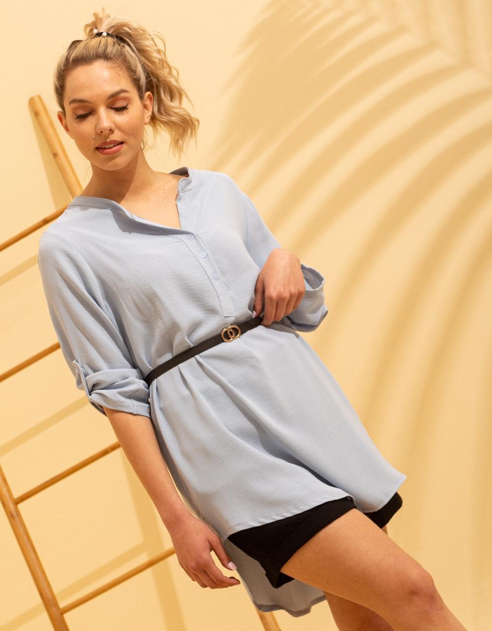 Εικόνα από Γυναικείο πουκάμισο ασύμμετρο με ζώνη Σιέλ