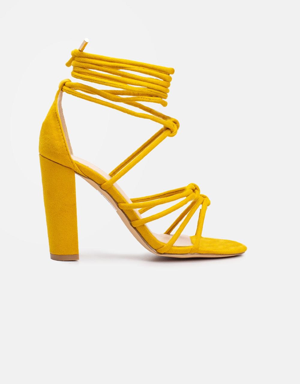 Εικόνα από Γυναικεία suede πέδιλα lace up Κίτρινο