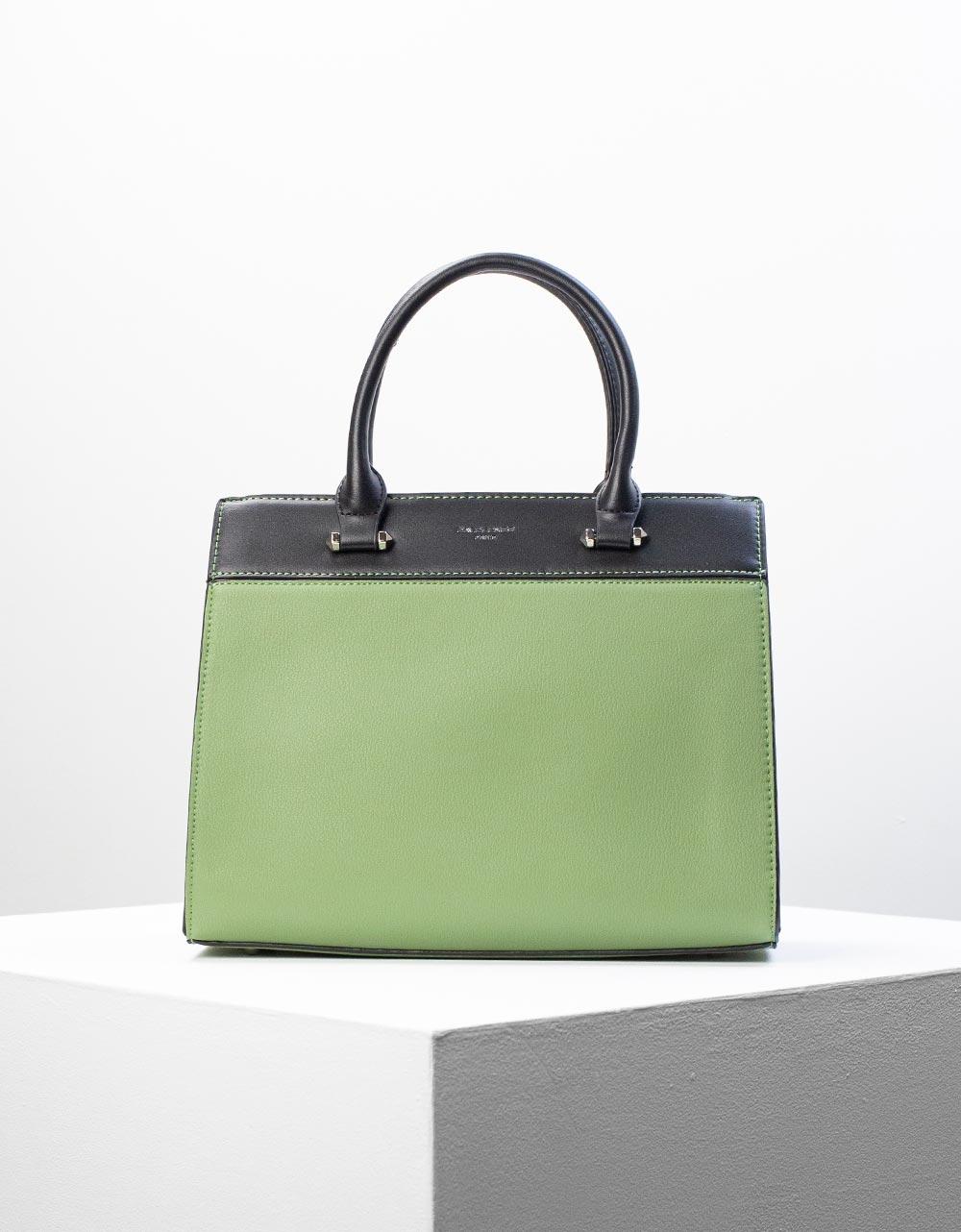 Εικόνα από Γυναικεία τσάντα χειρός με δίχρωμη λεπτομέρεια Πράσινο