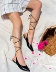 Εικόνα από Γυναικεία mules lace up με χαμηλό τακούνι Μαύρο