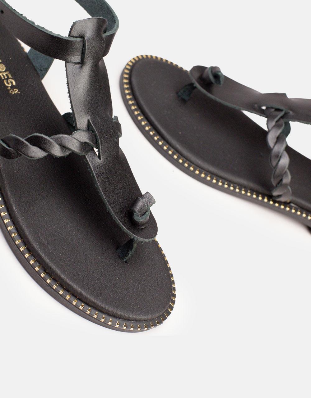 Εικόνα από Γυναικεία σανδάλια από γνήσιο δέρμα με κοτσιδάκι Μαύρο