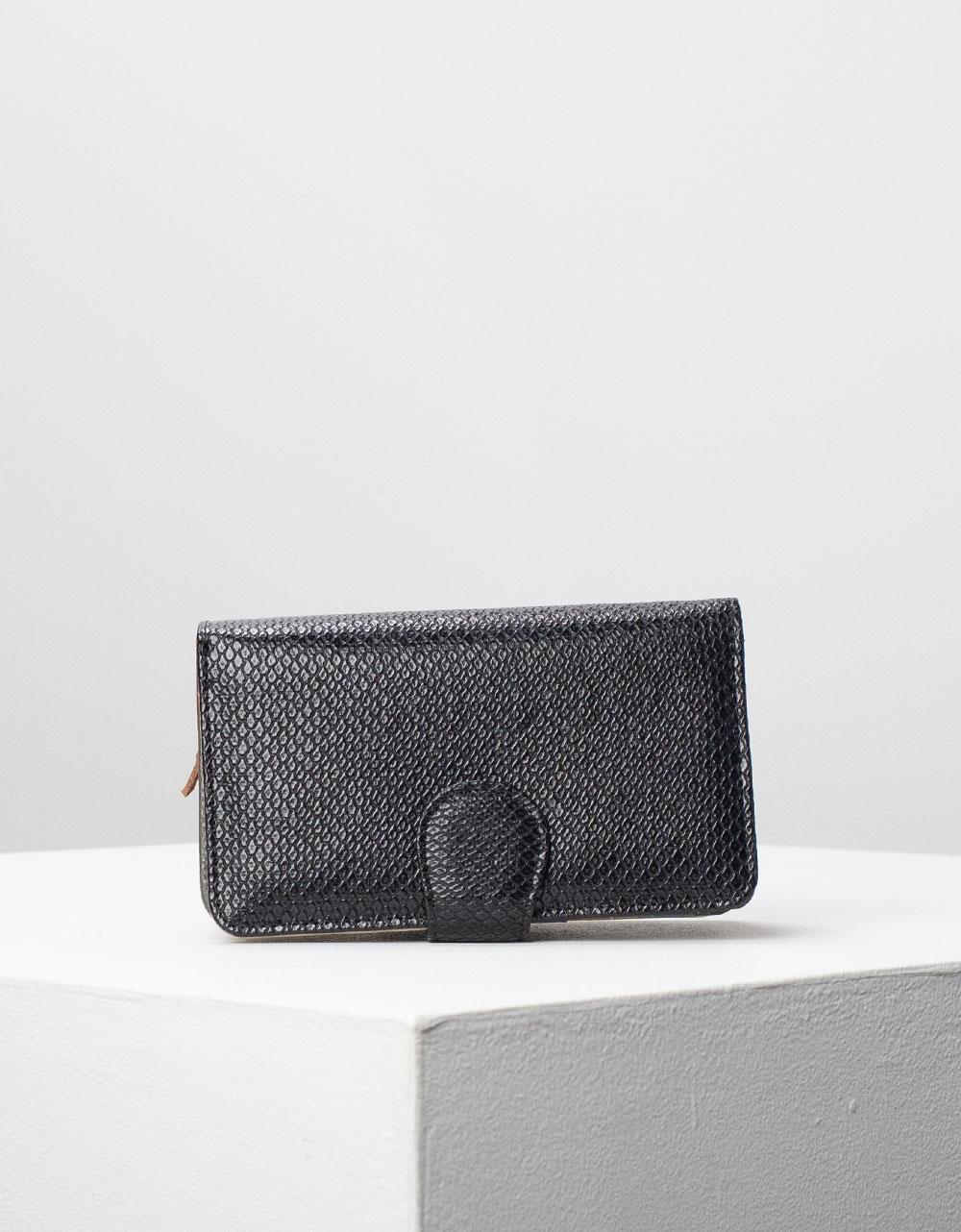 Εικόνα από Γυναικεία πορτοφόλια δερμάτινα με πολλές θήκες Μαύρο