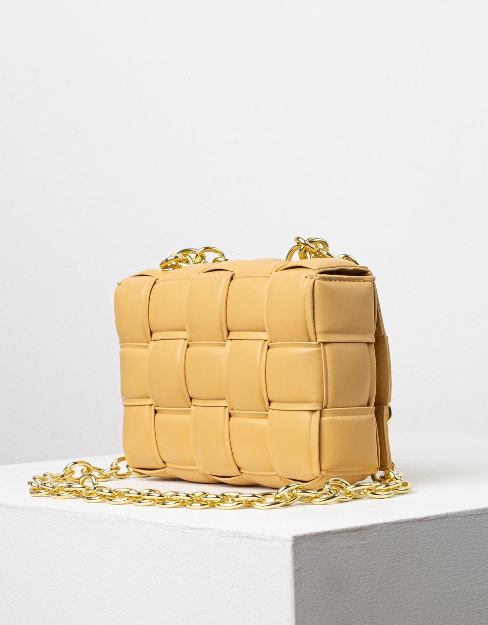 Εικόνα από Γυναικεία τσάντα ώμου & χιαστί καπιτονέ Κάμελ