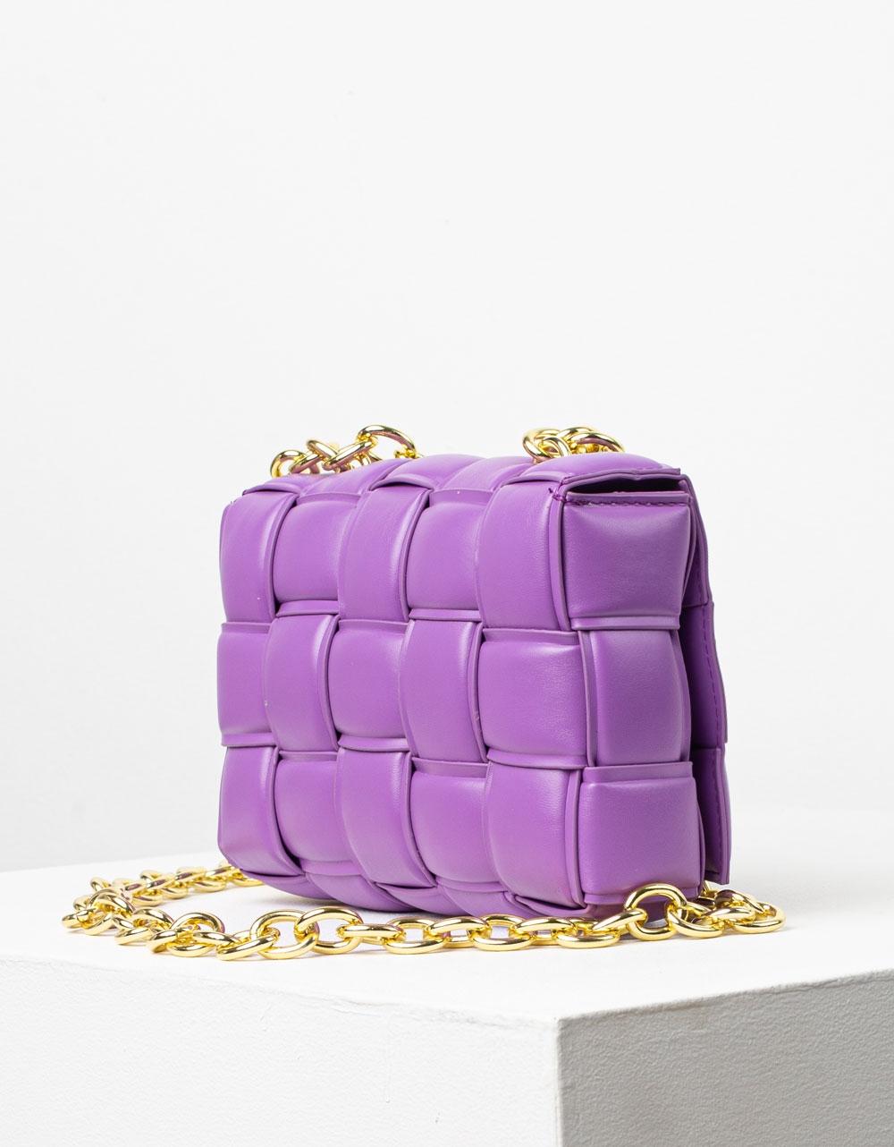 Εικόνα από Γυναικεία τσάντα ώμου & χιαστί καπιτονέ Μωβ
