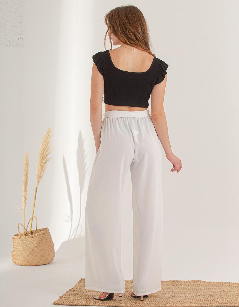 Εικόνα από Γυναικείο παντελόνι με φαρδιά πατζάκια Λευκό
