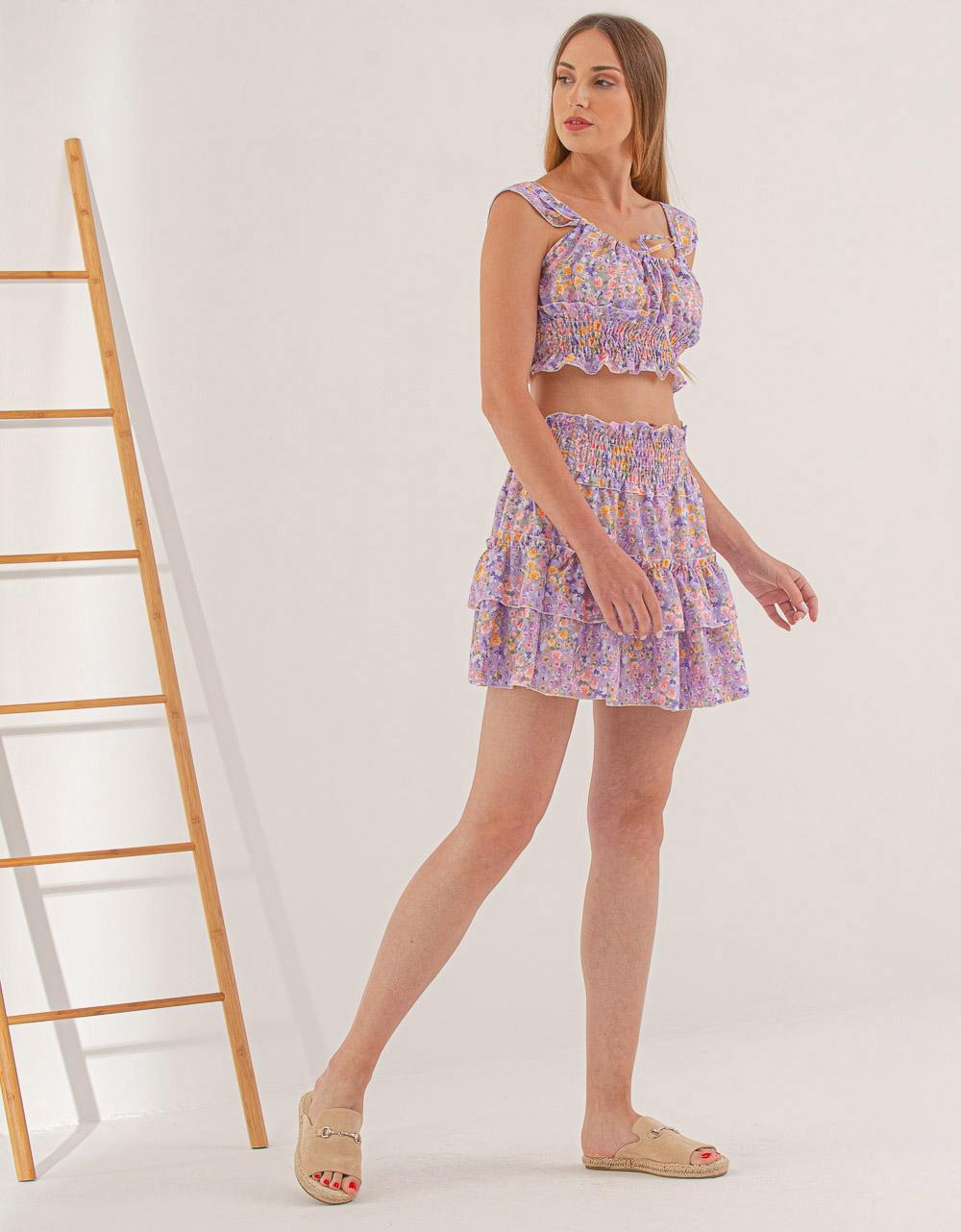 Εικόνα από Γυναικεία σετ φούστα & crop top floral Λιλά