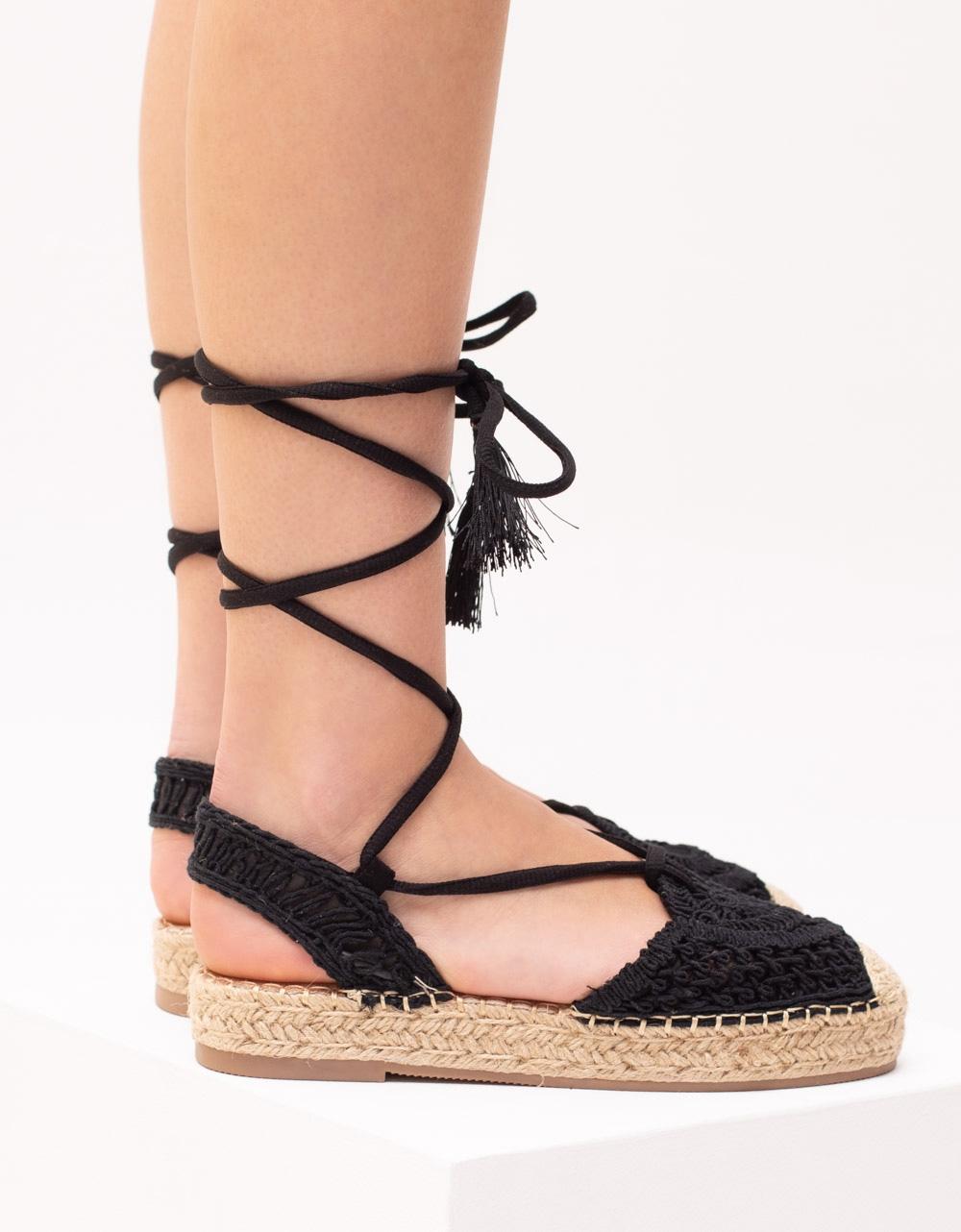 Εικόνα από Γυναικείες εσπαντρίγιες lace up με πλεκτό σχέδιο Μαύρο