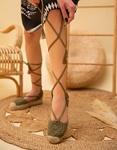 Εικόνα από Γυναικείες εσπαντρίγιες lace up με πλεκτό σχέδιο Πράσινο