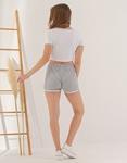 Εικόνα από Γυναικείο σετ σόρτς & crop top Λευκό/Γκρι