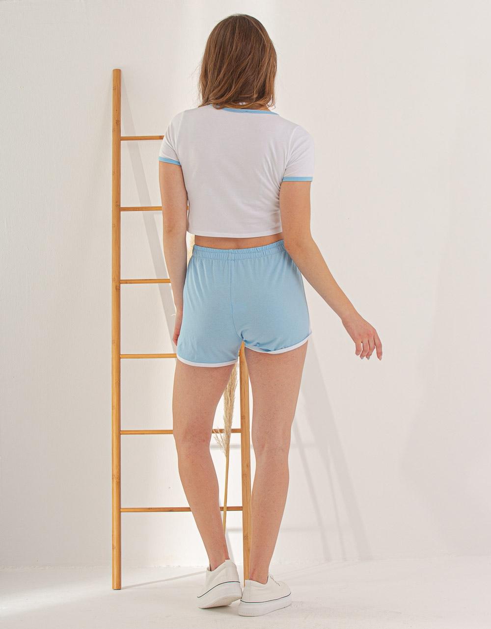 Εικόνα από Γυναικείο σετ σόρτς & crop top Λευκό/Μπλε