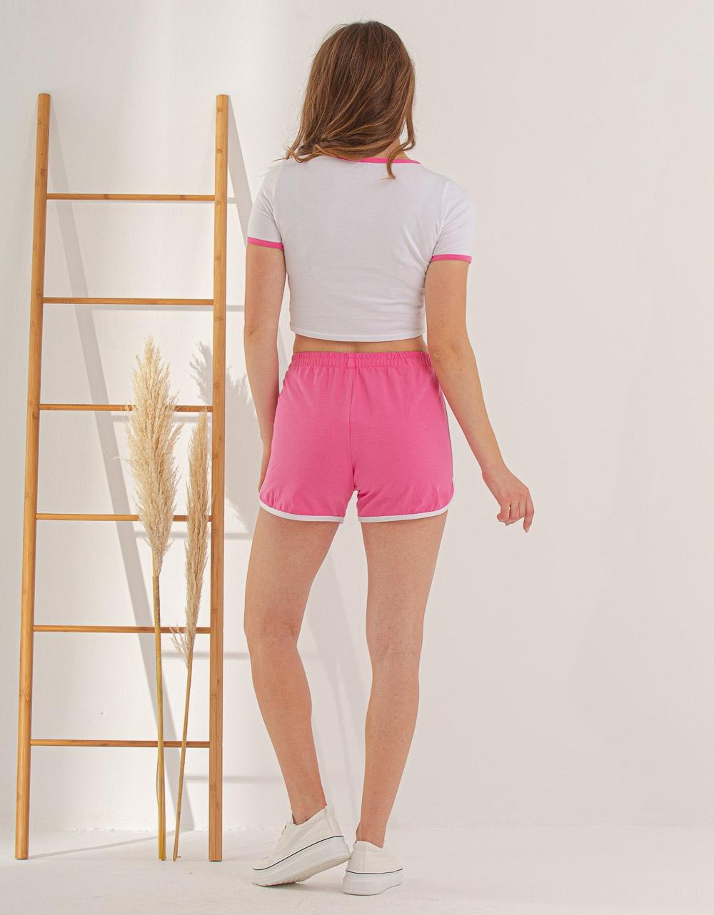 Εικόνα από Γυναικείο σετ σόρτς & crop top Λευκό/Ροζ