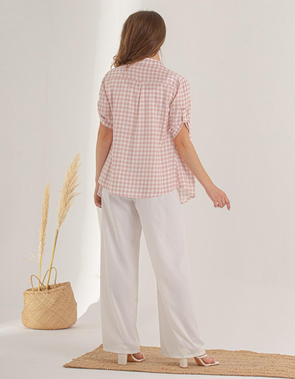 Εικόνα από Γυναικείο πουκάμισο με καρό σχέδιο Ροζ