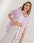 Εικόνα από Γυναικείο πουκάμισο με καρό σχέδιο Λιλά