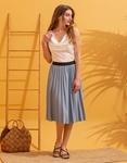 Εικόνα από Γυναικεία μπλούζα τοπ τιραντάκι σατεν Λευκό