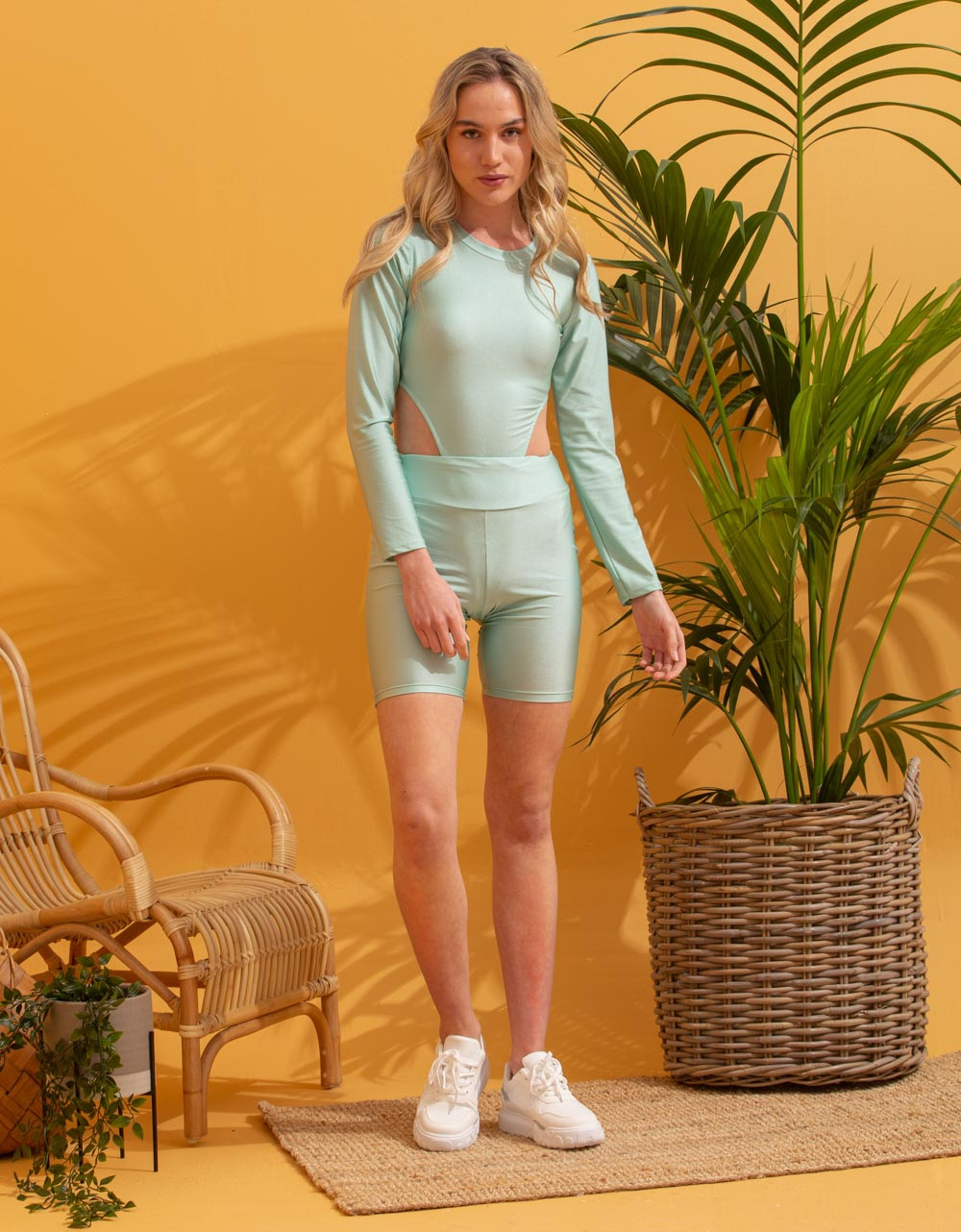 Εικόνα από Γυναικείο κορμάκι με μακρύ μανίκι Πράσινο