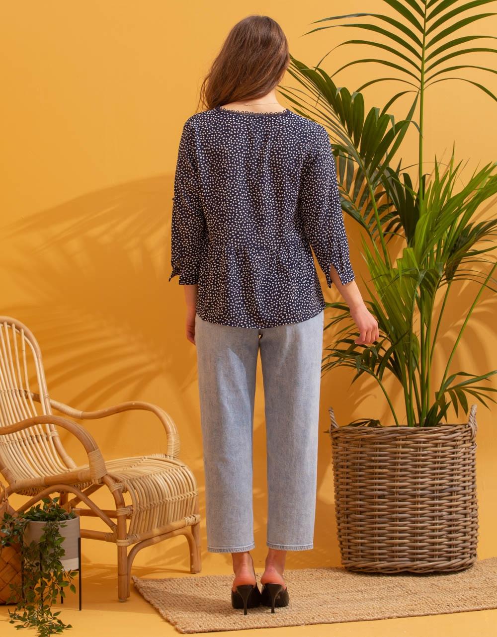 Εικόνα από Γυναικείο πουκάμισο μπλούζα με σχέδιο Μπλε