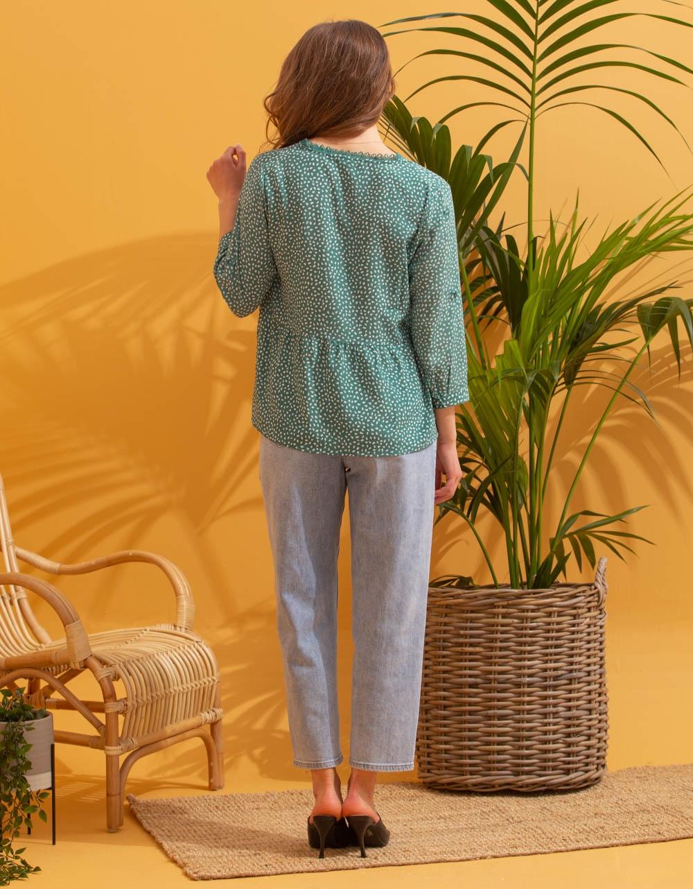 Εικόνα από Γυναικείο πουκάμισο μπλούζα με σχέδιο Πράσινο