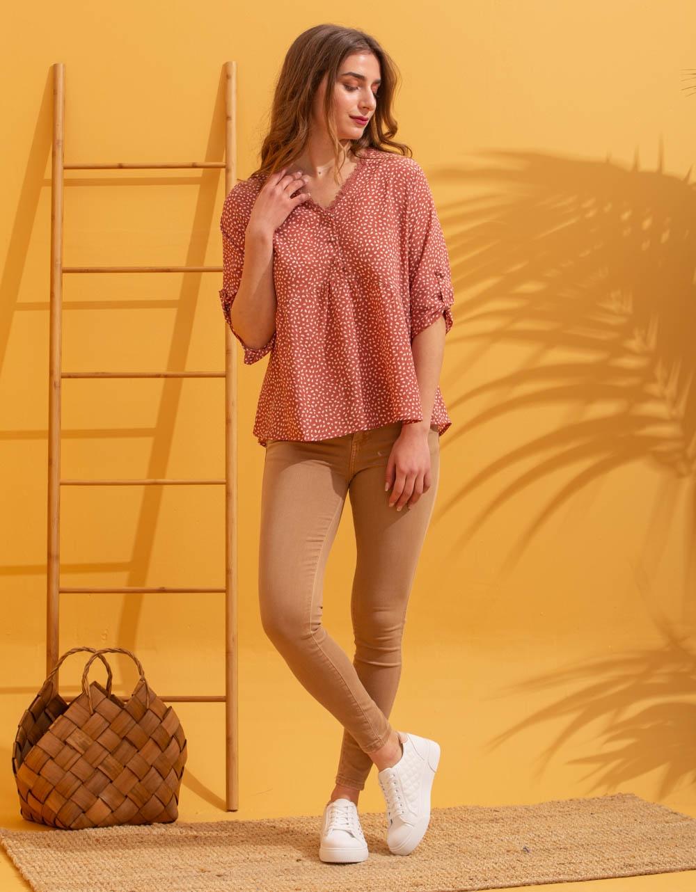 Εικόνα από Γυναικείο πουκάμισο μπλούζα με σχέδιο Σομόν