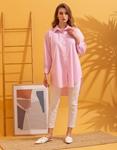 Εικόνα από Γυναικείο πουκάμισο oversized ριγέ Ροζ