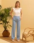 Εικόνα από Γυναικείο παντελόνι με φαρδιά μπατζάκια Σιέλ