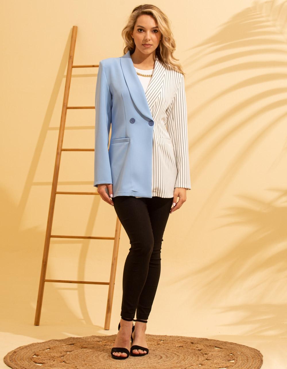 Εικόνα από Γυναικείο σακάκι με δίχρωμο σχέδιο Λευκό/Σιέλ