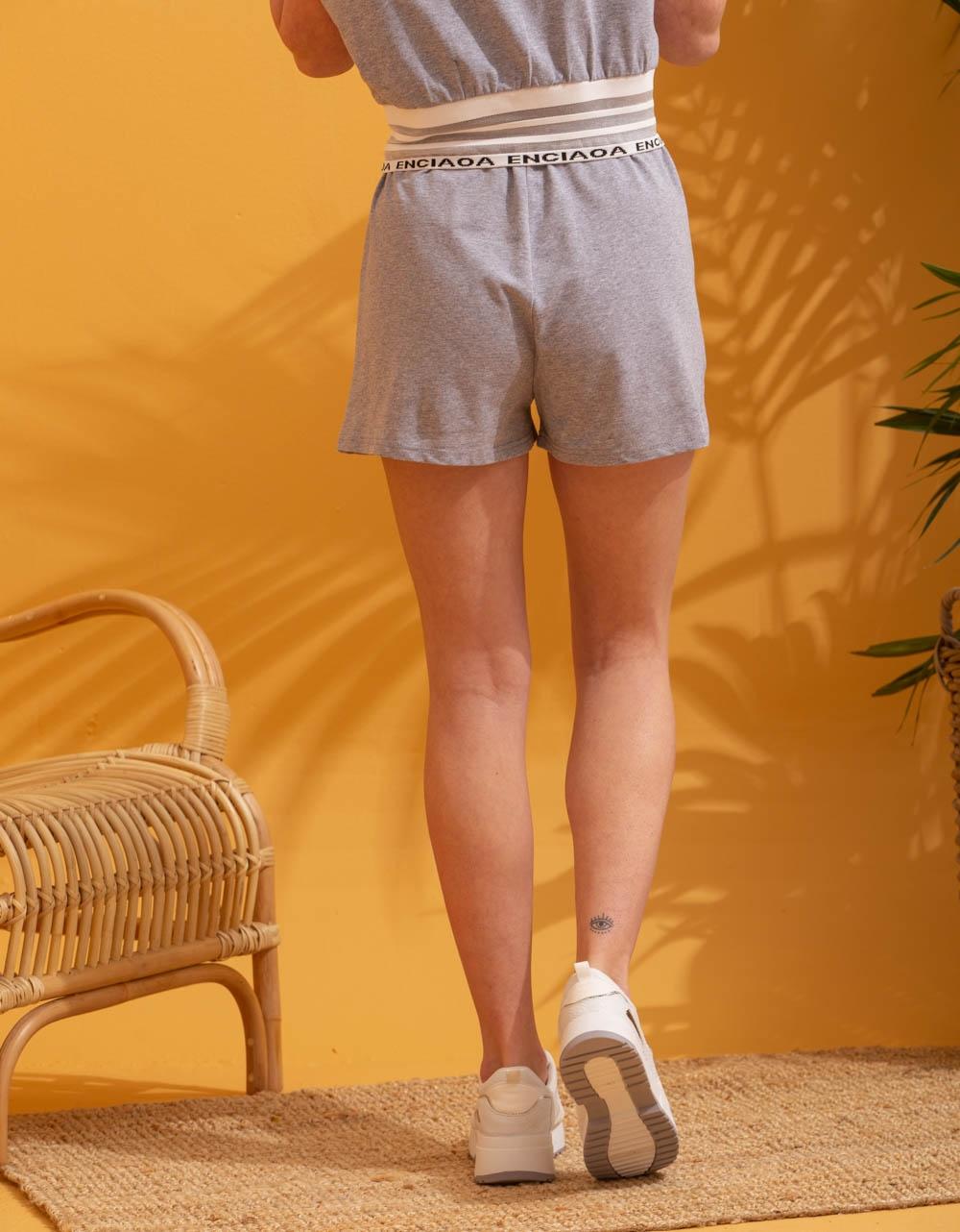 Εικόνα από Γυναικείο σόρτς & μπλούζα σετ αθλητικό Γκρι
