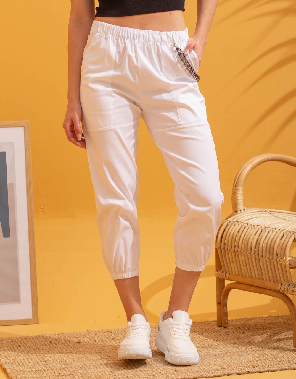 Εικόνα από Γυναικείο παντελόνι με αλυσίδα Λευκό