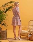Εικόνα από Γυναικείο φόρεμα floral με βολάν Ροζ