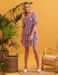 Εικόνα από Γυναικείο φόρεμα floral με βολάν Μωβ